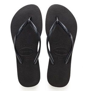 NWT Black Havaianas Slim Flip Flop Size US 7/8